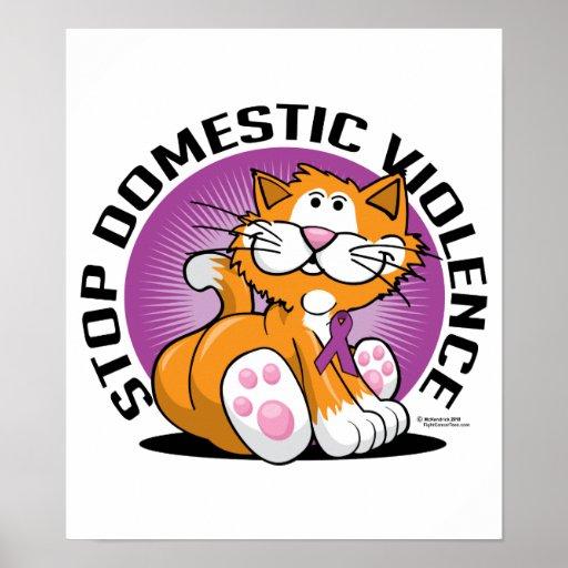 Pare el gato de la violencia en el hogar póster