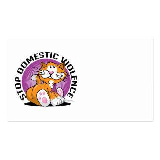 Pare el gato de la violencia en el hogar tarjetas de visita