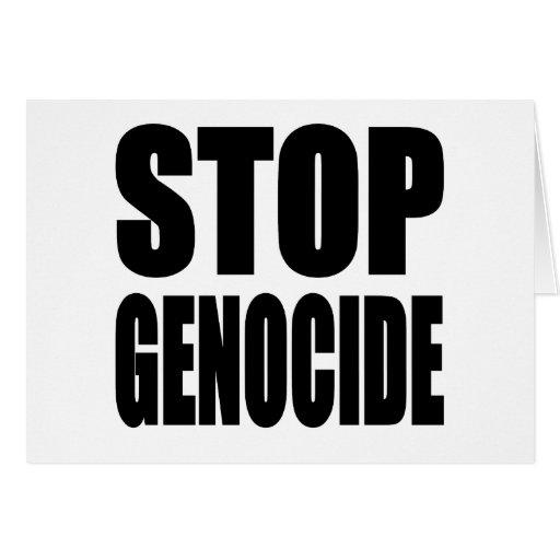 Pare el genocidio. Spead el mensaje Tarjeta De Felicitación