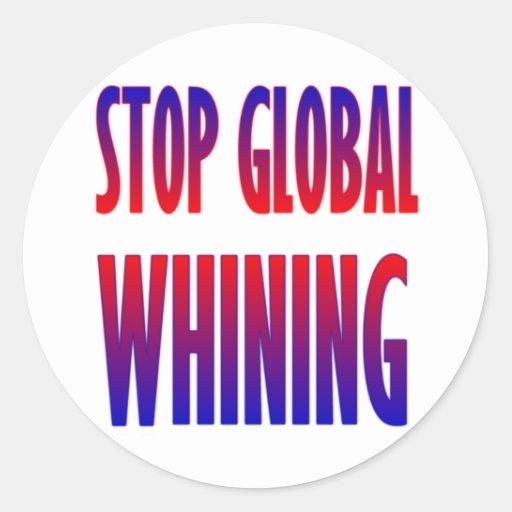 Pare el gimoteo global pegatina redonda