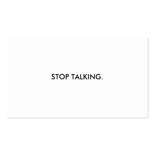 Pare el hablar de la tarjeta de visita