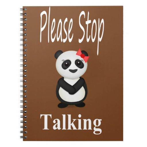 Pare el hablar del oso de panda libreta