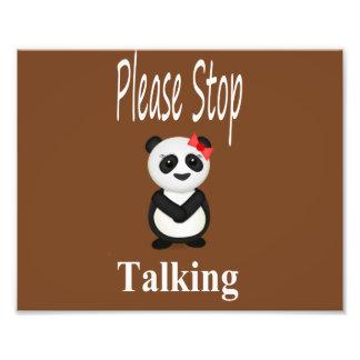 Pare el hablar del oso de panda impresión fotográfica