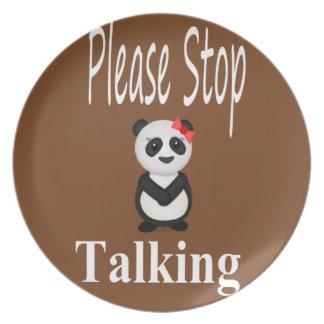 Pare el hablar del oso de panda platos de comidas