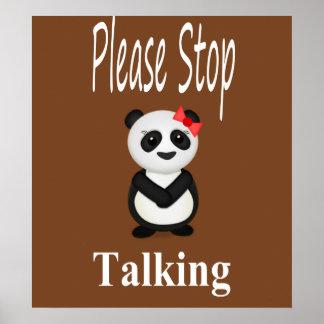 Pare el hablar del oso de panda póster