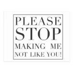 Pare el hacer de mí no como usted postales