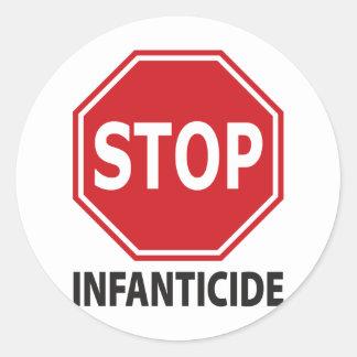 Pare el infanticidio etiqueta redonda