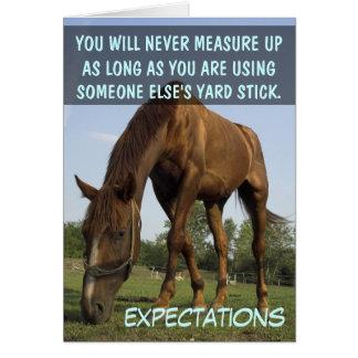 Pare el intentar resolver las expectativas de la o tarjeta de felicitación