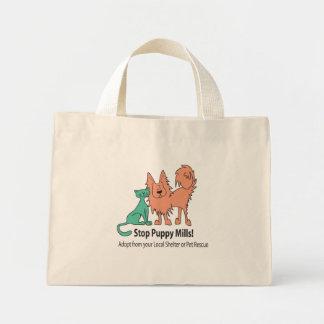 pare el logotipo del molino del perrito bolsas de mano
