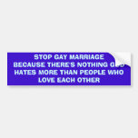 Pare el matrimonio homosexual pegatina de parachoque