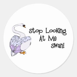 Pare el mirar de mí cisne etiqueta redonda