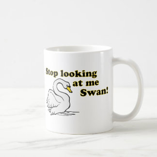 Pare el mirar de mí cisne taza básica blanca