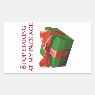 Pare el mirar fijamente mi regalo de Navidad del Pegatina Rectangular