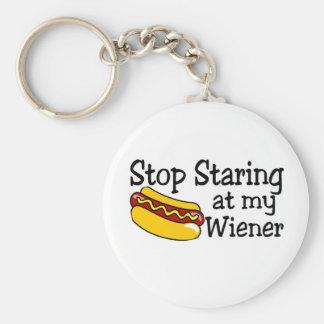 Pare el mirar fijamente mi salchicha de Frankfurt Llavero Redondo Tipo Pin