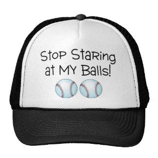 Pare el mirar fijamente mis bolas (el béisbol) gorro de camionero