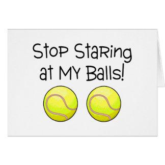 Pare el mirar fijamente mis bolas las pelotas de felicitaciones