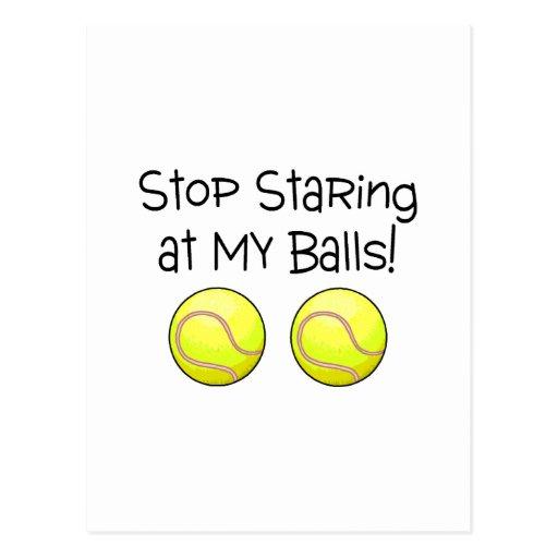 Pare el mirar fijamente mis bolas (las pelotas de  postal