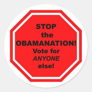 ¡Pare el Obamanation! Pegatina Redonda