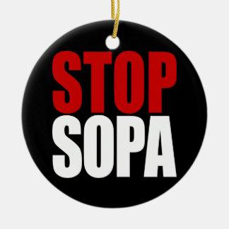 Pare el ornamento de SOPA Adorno Navideño Redondo De Cerámica