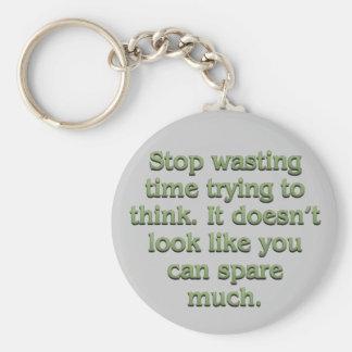 Pare el perder de tiempo llavero redondo tipo pin