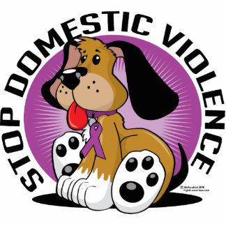 Pare el perro de la violencia en el hogar escultura fotográfica