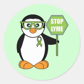 Pare el pingüino de Lyme con la muestra Pegatina Redonda