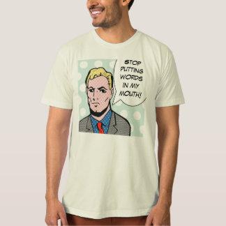 Pare el poner de palabras en mi camiseta del cómic polera