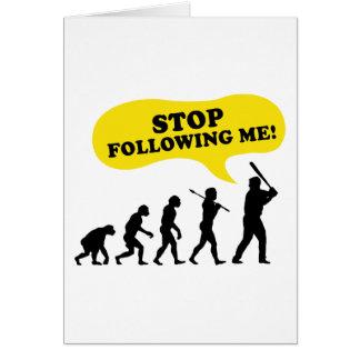 Pare el seguir de mí tarjeton