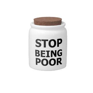 Pare el ser pobre platos para caramelos