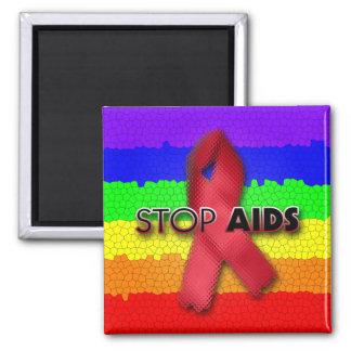 Pare el SIDA (el arco iris) Imán Cuadrado