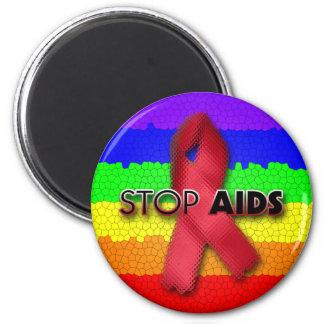 Pare el SIDA (el arco iris) Imán Redondo 5 Cm