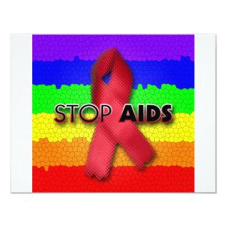 """Pare el SIDA (el arco iris) Invitación 4.25"""" X 5.5"""""""