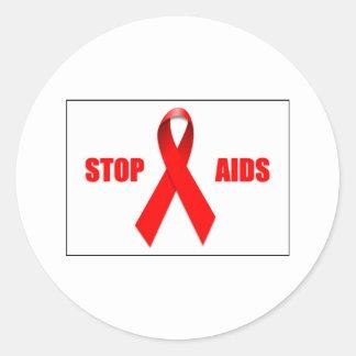 PARE EL SIDA PEGATINA REDONDA