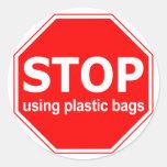 Pare el usar de las bolsas de plástico (fije de etiquetas redondas