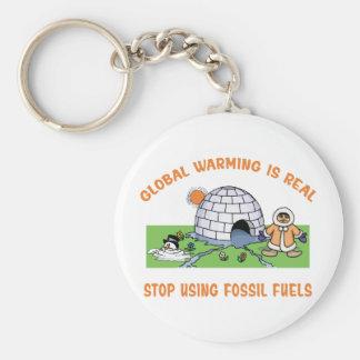Pare el usar de los combustibles fósiles llavero redondo tipo pin