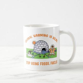 Pare el usar de los combustibles fósiles taza básica blanca