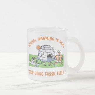Pare el usar de los combustibles fósiles taza de cristal