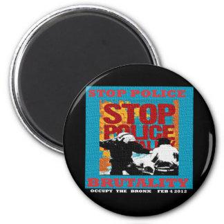 Pare la brutalidad policial, ocupe el aviador 2012 imán redondo 5 cm