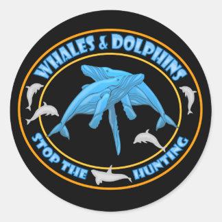 Pare la caza de la ballena pegatina redonda