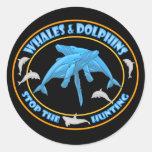 Pare la caza de la ballena pegatinas redondas