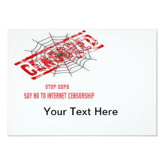 Pare la censura del Internet Invitación 12,7 X 17,8 Cm