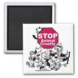 Pare la crueldad animal imán cuadrado