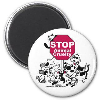 Pare la crueldad animal imán redondo 5 cm