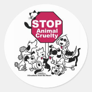 Pare la crueldad animal pegatina redonda
