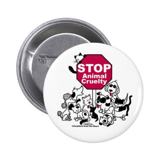 Pare la crueldad animal pin redondo de 2 pulgadas