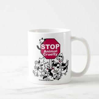 Pare la crueldad animal taza de café