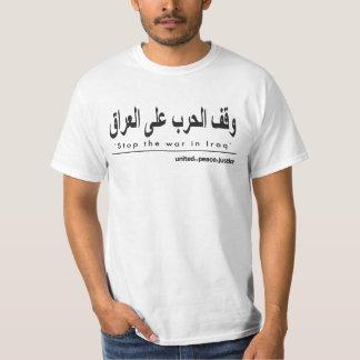 """Pare la guerra en camiseta árabe de Iraq"""