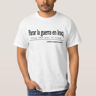 """""""Pare la guerra en camiseta española de Iraq"""""""