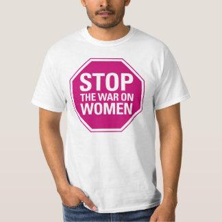 Pare la guerra en la camiseta de las mujeres poleras