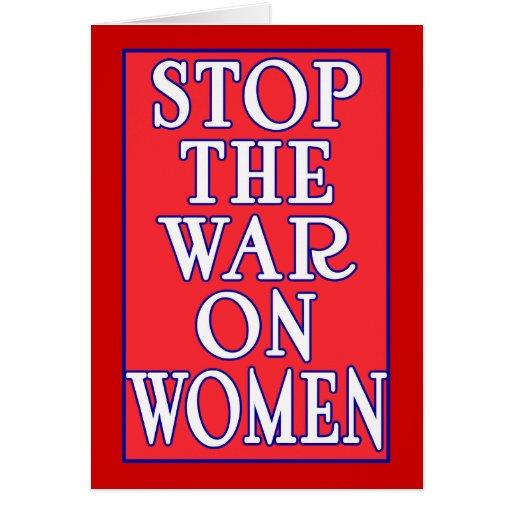 Pare la guerra en mujeres felicitación